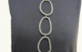 Halskette Rochenleder Horn und Silber